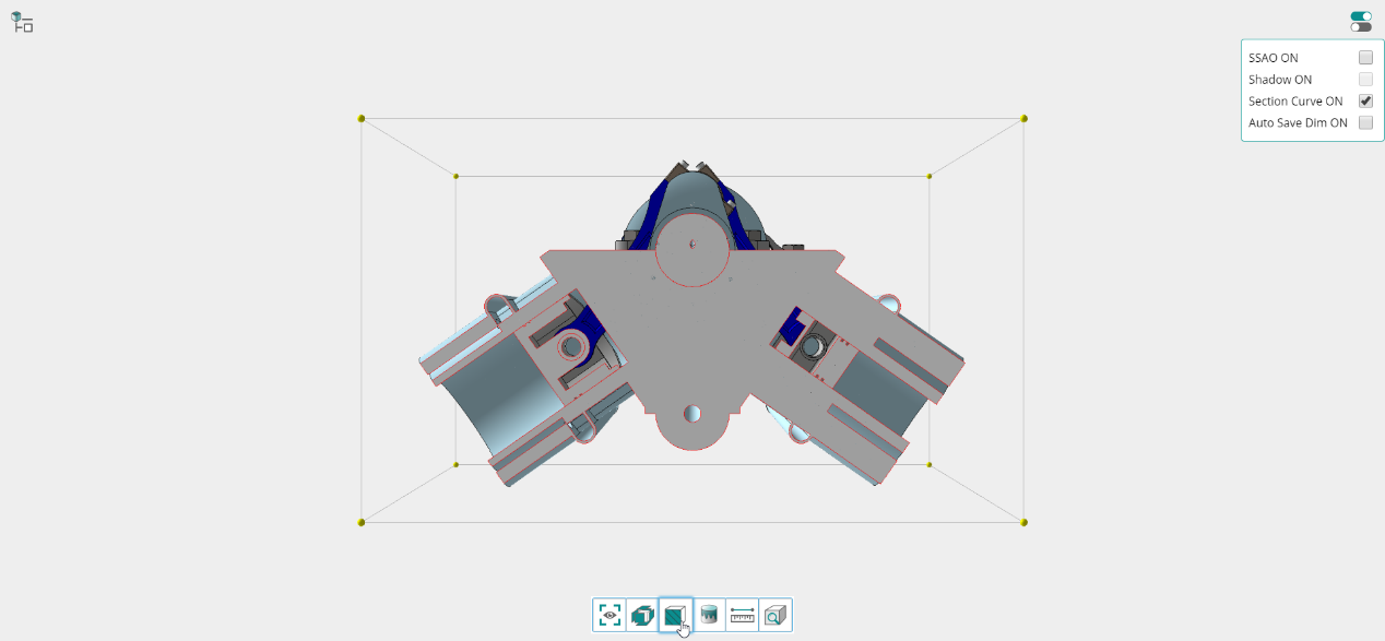 Figure 3. The online section view with shape outlines