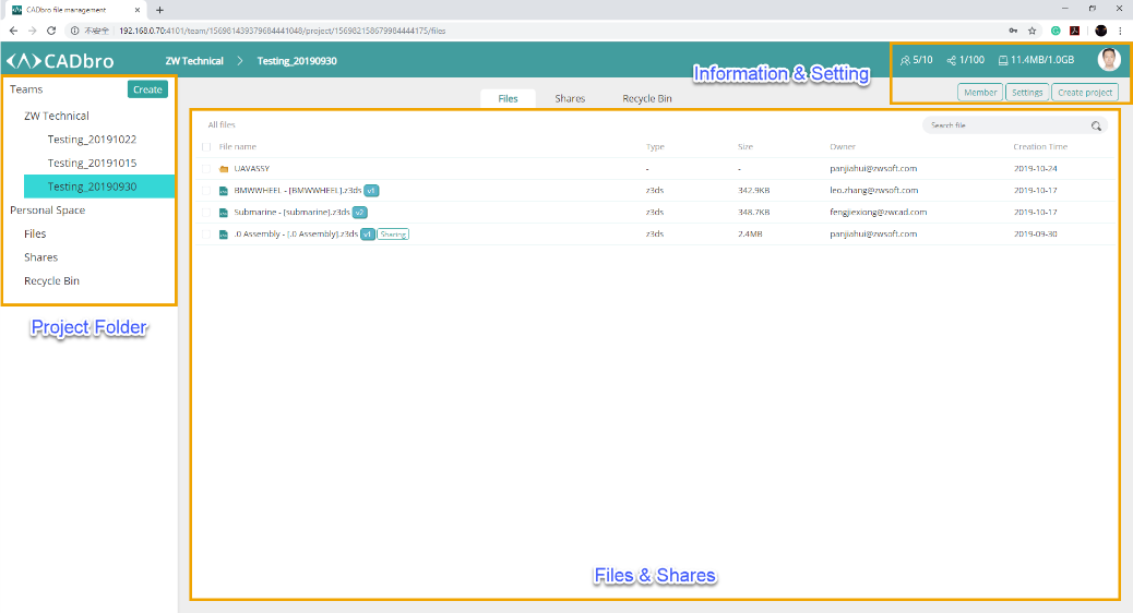 Figure 4. Manage team members and projects in CADbro Cloud webpage